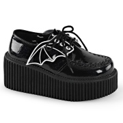 svarte 7,5 cm CREEPER-205 platå creepers sko - dame platåsko med flaggermusvinger
