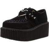 svarte 7,5 cm CREEPER-206 rockabilly creepers sko - dame platåsko