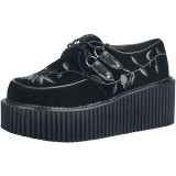svarte 7,5 cm CREEPER-219 rockabilly creepers sko - dame platåsko