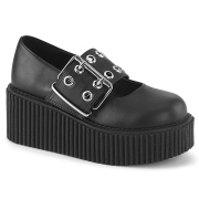svarte 7,5 cm CREEPER-230 maryjane creepers sko - platåsko med spenne
