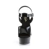 svarte høye hæler 15 cm DELIGHT-608N JELLY-LIKE strekkmateriale platå høye hæler