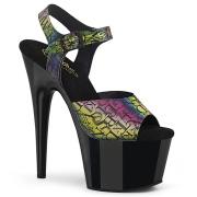 svarte høye hæler 18 cm ADORE-708N-LTP JELLY-LIKE strekkmateriale platå høye hæler
