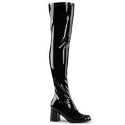 svarte vinyl lårhøye støvler 7,5 cm - 70 tallet hippie disco gogo - lårhøye boots