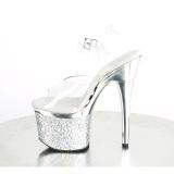 transparent 18 cm ESTEEM-708CHLG høyhælte sandaler - pole dance sandaler sølv