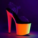 transparent 19 cm RAINBOW-708UV høyhælte sandaler neon platå