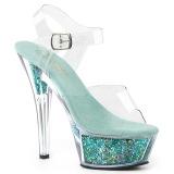 turkis 15 cm KISS-208GF glitter platå sandaler dame