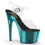 turkis 18 cm ADORE-708 krom platå høye hæler sko