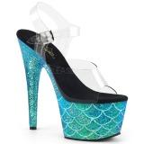 turkis 18 cm ADORE-708MSLG glitter platå sandaler dame