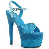 turkis 18 cm ADORE-709-2G glitter platå sandaler dame