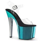 turkis 18 cm RADIANT-708TTCH krom platå høye hæler sko