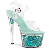 turkis 18 cm SKY-308GF glitter platå sandaler dame