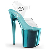 turkis 20 cm FLAMINGO-808 krom platå høye hæler sko