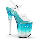 turkis 20 cm STARDUST-808T platå høyhælte sandaler sko