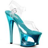 turkis gjennomsiktig 18 cm MOON-708DMCH platå høye hæler sko