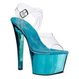 turkis gjennomsiktig 18 cm SKY-308 platå høye hæler sko