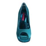 turkis satin 13,5 cm BELLA-12R strass platform pumps sko