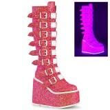 vegan 14 cm SWING-815UV alternative platåstøvler med spenner neon