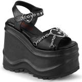 vegan 15 cm Demonia WAVE-09 lolita platå sandaler med kilehæler