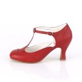 vegan 7,5 cm FLAPPER-26 retro vintage t-stropp pumps - t-strap høye hæler rød
