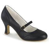 vegan 7,5 cm FLAPPER-32 maryjane pumps - retro vintage høye hæler svart