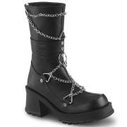 vegan blokkhæl 7 cm Demonia BRATTY-120 chunky hæl støvletter
