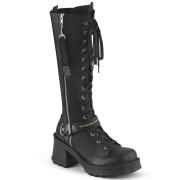 vegan blokkhæl 7 cm Demonia BRATTY-206 chunky hæl støvletter