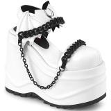 vegan hvit 15 cm Demonia WAVE-20 lolita platå sandaler med kilehæler