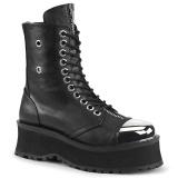 vegan skinn GRAVEDIGGER-10 stål tå cap ankelstøvletter - demonia militærstøvler