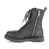 vegan skinn RIOT-10 stål tå cap ankelstøvletter - demonia militærstøvler
