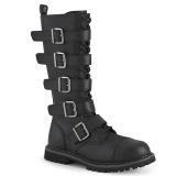 vegan skinn RIOT-18BK stål tå cap støvler - demonia militærstøvler