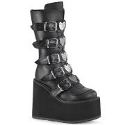 vegan svart 14 cm SWING-230 cyberpunk platåstøvler
