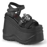 vegan svart 15 cm Demonia WAVE-13 lolita platå sandaler med kilehæler