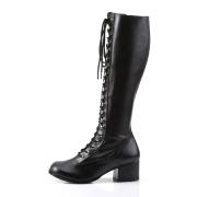 vinyl snørestøvler 5 cm - 70 tallet hippie disco gogo - knehøye boots